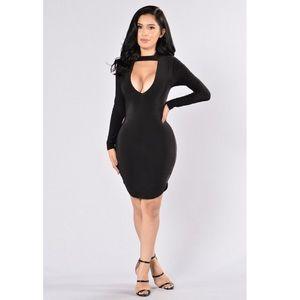 Fashion Nova Black V-Neck Choker Dress